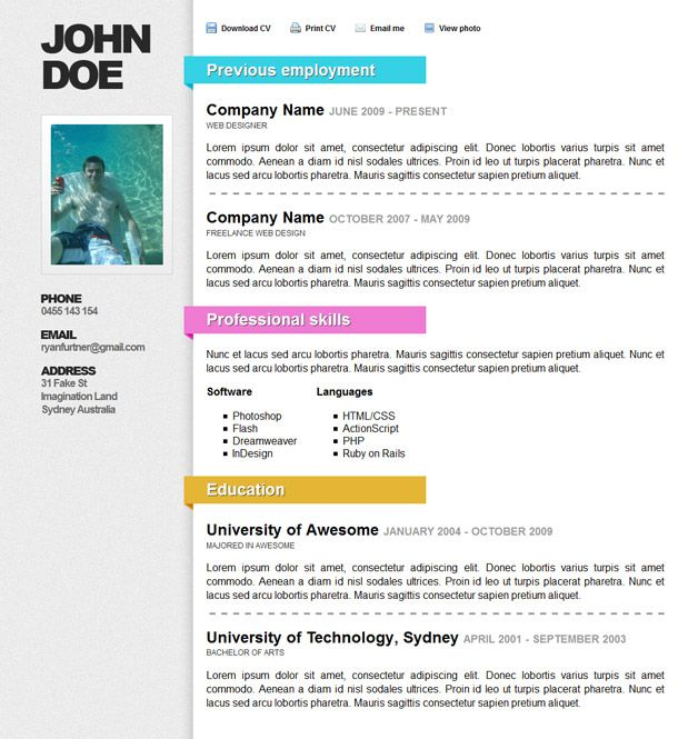 Artsy Resume Templates  GraphicDesignResumeSamples  Resume