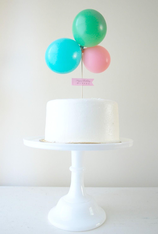 balloon cake topper, simple white birthday cake ...
