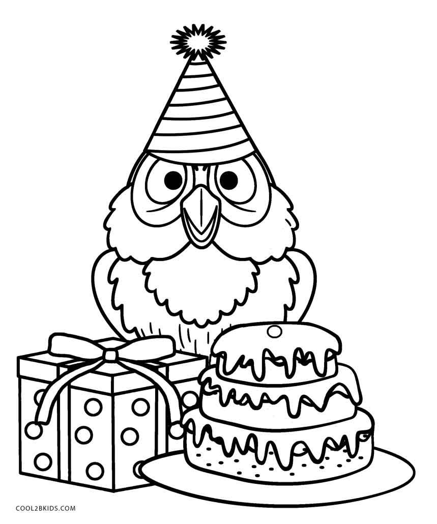 Birthday-Owl-Coloring-Pages.jpg (859×1030) | Раскраска 6 | Pinterest