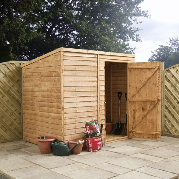 8 x 6 Waltons Windowless Overlap Pent Wooden Shed on Walton Garden Buildings