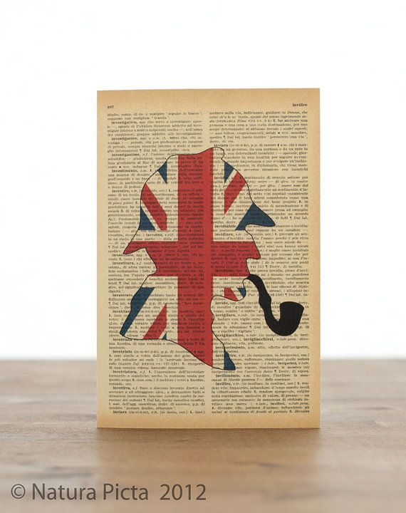 Sherlock Holmes Uk flag silhouette Greeting Card-Invitation card-Stationery card- 4×6 inch on Ivory Paper – Design by NATURA PICTA NPGC028