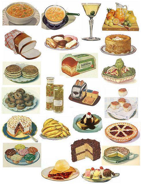 printable collage sheet of vintage food items
