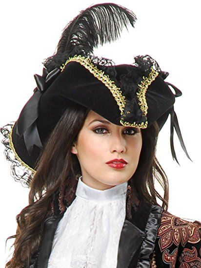 VELVET PIRATE HAT WITH PINK LACE AND RIBBONS
