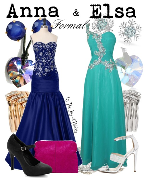 Buy Anna's look: Dress, $149.69 ; Shoes, $39.99 ; Bag, $56.44 ; Rings, $4.80 ; Necklace, $12.98 ; Earrings, $57.99. Buy Elsa's look: Dress, $129 ; Shoes, $79.02 ; Clutch, $44.99 ; Rings, $4.80 ; Necklace , $19.99 ; Earrings, $25.99. Formal outfits inspired by Anna Elsa from the movie Frozen! These would be a great option to go to Prom with a good friend!!