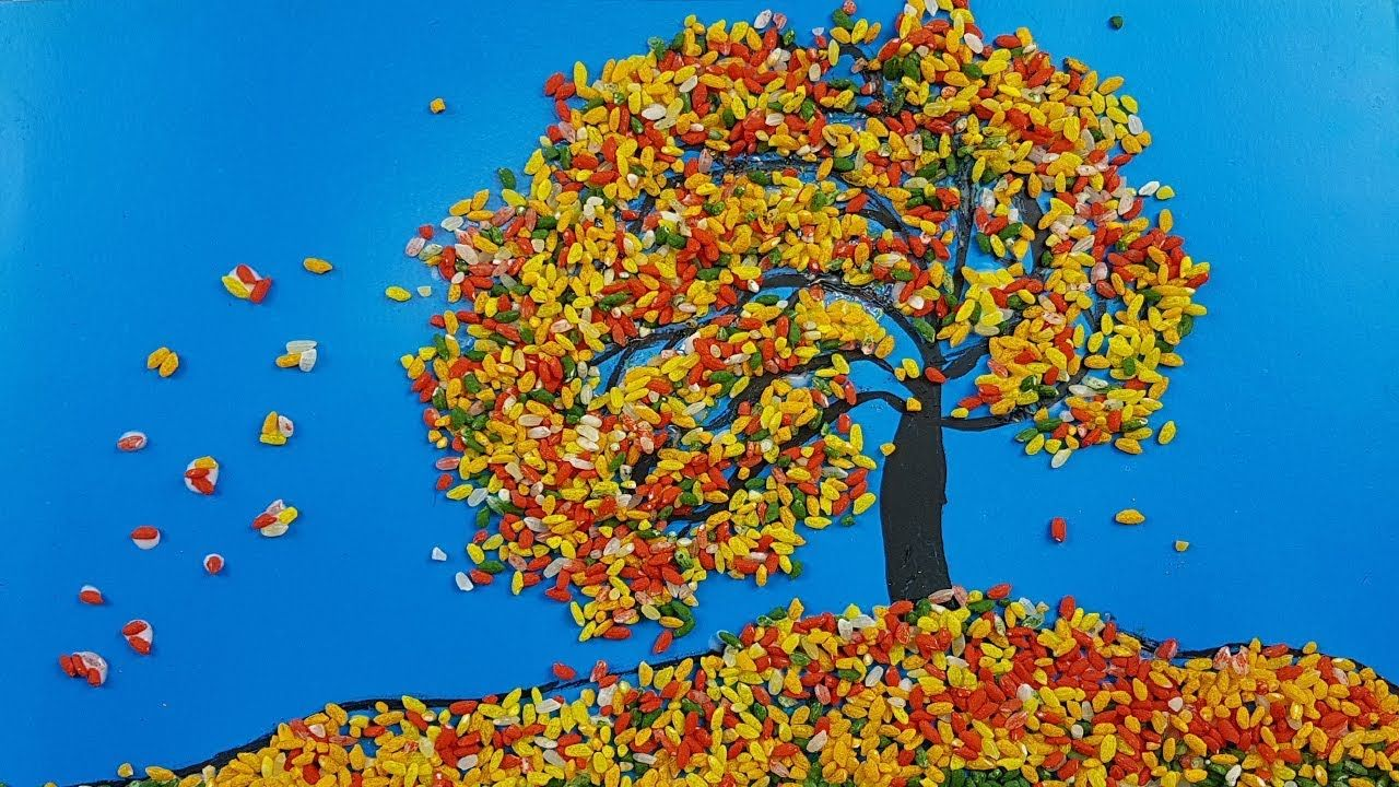 Аппликация из риса для детей - Осенний ветер | Осенние ...