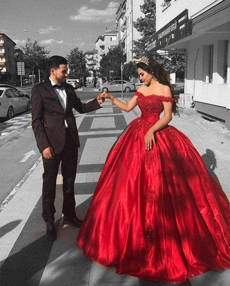 Red Satin Off The Shoulder Ball Gowns Wedding Dresses Lace Appliques ...