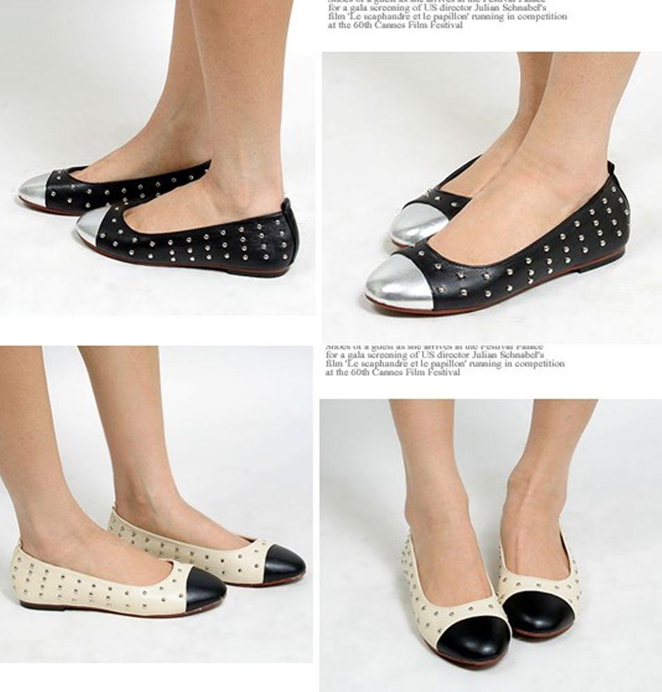 Studded Black Loafers Ballet Flats Comfort Women Shoes US 10 / UK 7.5 #Unbranded #BoatShoes