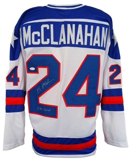 Rob Mcclanahan Signed Custom 1980 Usa Hockey Miracle On Ice Jersey 1980 Gold Jsa Usa Hockey Hockey Signs