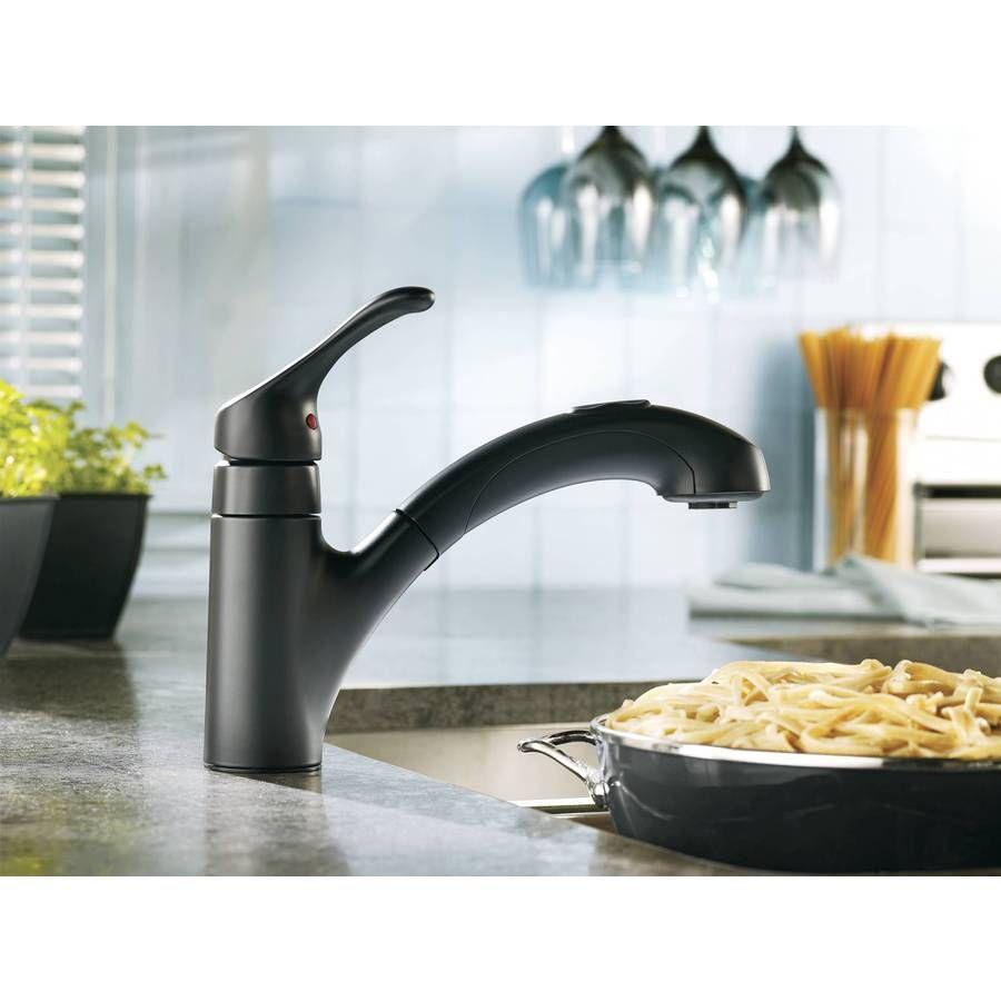 Shop Moen Renzo Matte Black 1-Handle Pull-Out Kitchen Faucet at ...