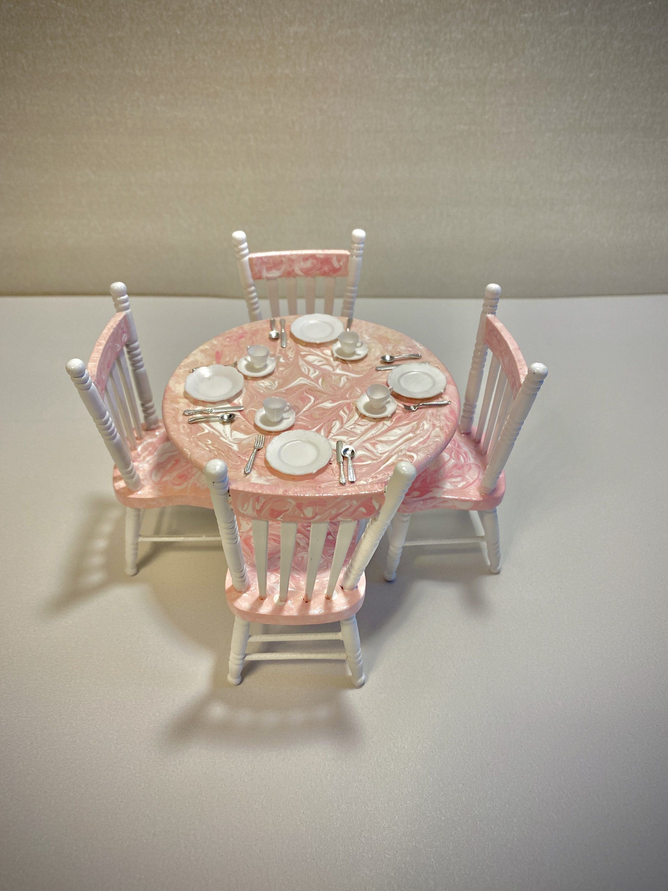 Dollhouse miniature pink table chairs 5pc kitchen set