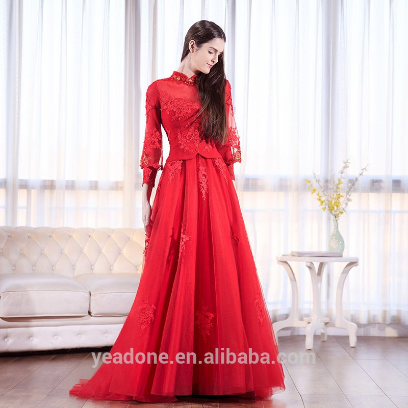 Factory Outlet Chinese Traditional High Collar Evening Dress Keyhole ...