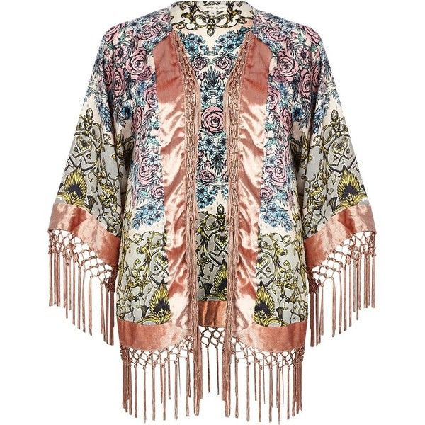 River Island Pink floral baroque print fringed kimono (€20) ❤ liked on Polyvore featuring intimates, robes, jackets, cardigans, outerwear, sale, summer kimono, pink robe, floral fringe kimono and flower print kimono