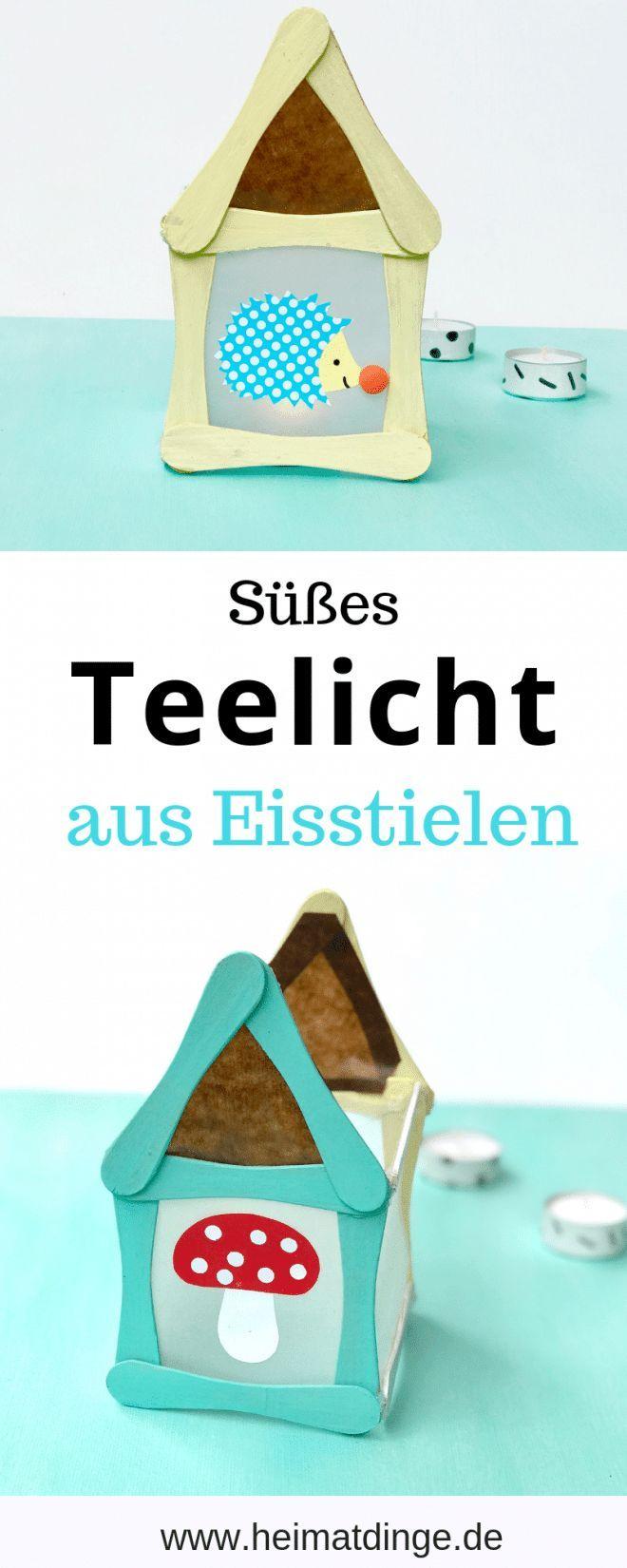 Windlicht mit Kindern basteln: Teelicht Häuschen aus Eisstielen ,  #aus #basteln #Eisstielen ... #herbstbastelnmitkindern