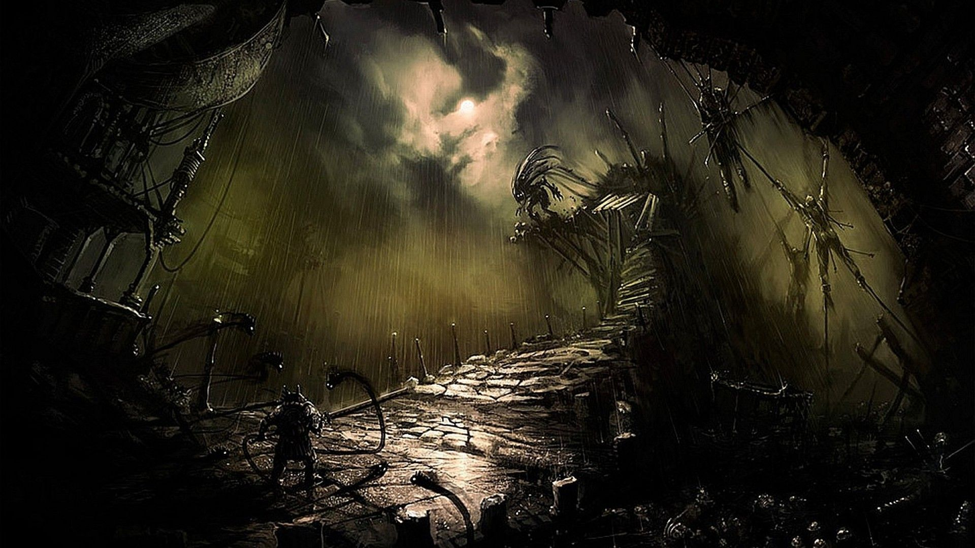 Horror artwork. Talk about a dark landscape Evil art