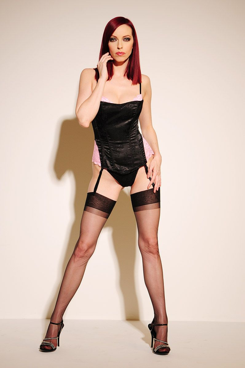 red head in lingerie, basque, heels, ff stockings & suspenders | ff
