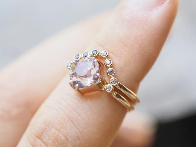 Amethyst and Color Change Garnet Ring Set in Rose Gold Gardens of