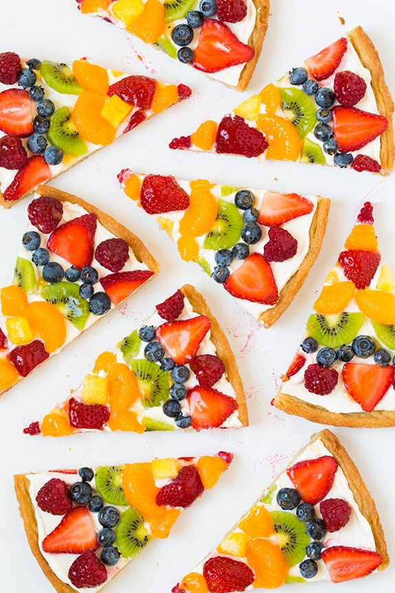 Fruit Pizza - this is one of my favorite summer desserts! Love the sweet cream cheese topping with all the fresh fruit!