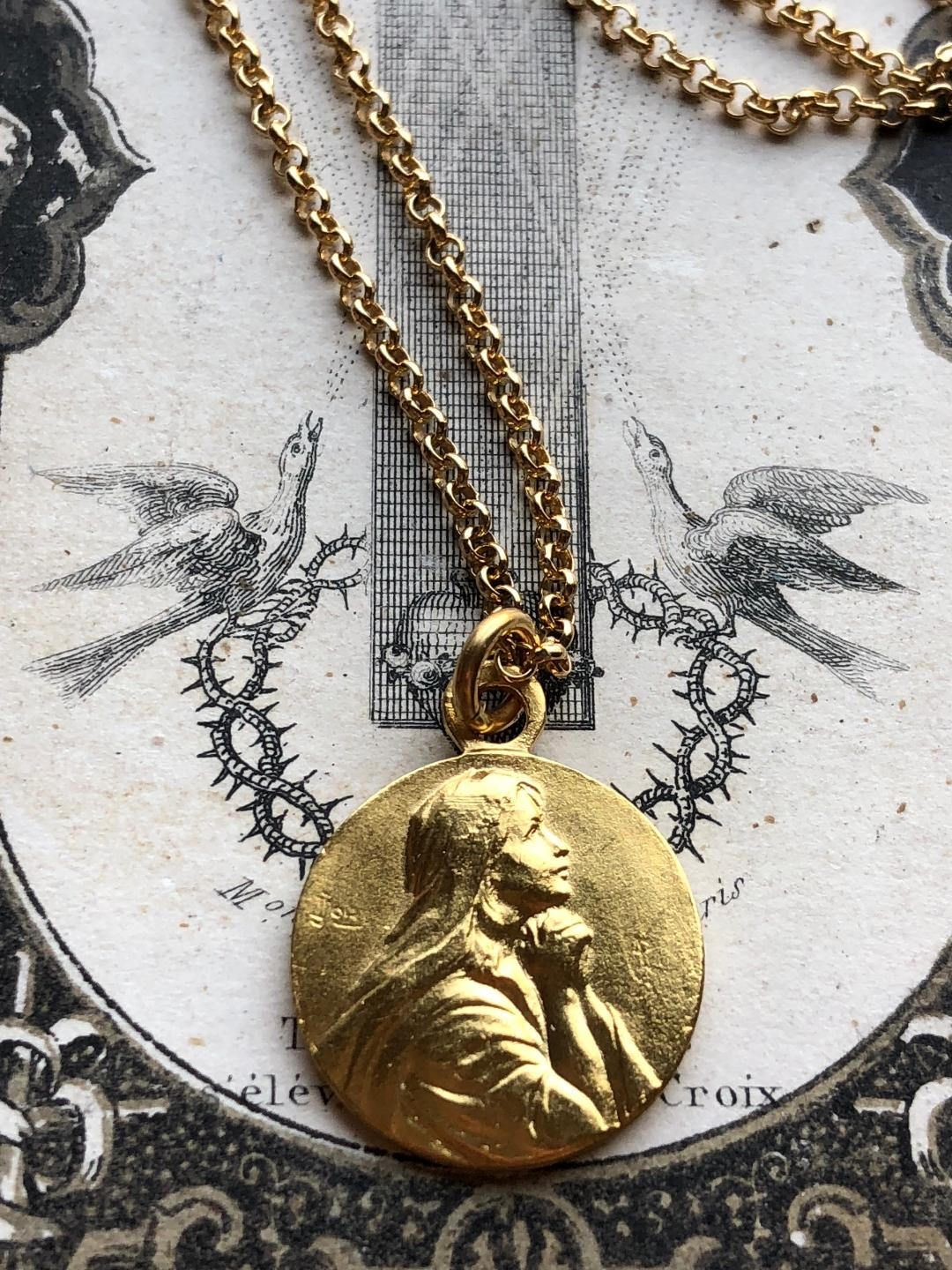 Small vintage french 18k gold plated silver saint mary magdalene small vintage french 18k gold plated silver saint mary magdalene medal pendant necklace catholic jewelry religious mozeypictures Gallery