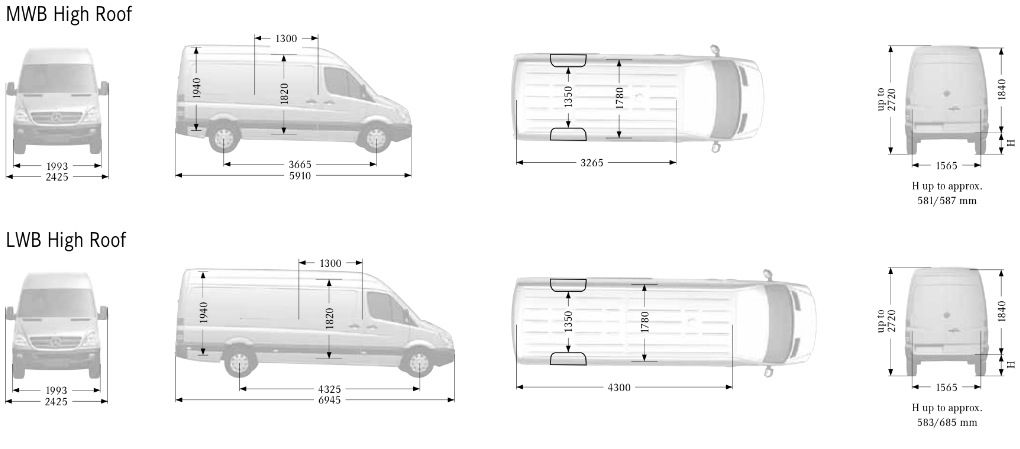 Dimensions Of A Ford Transit Mwb Van Google Search Mercedes