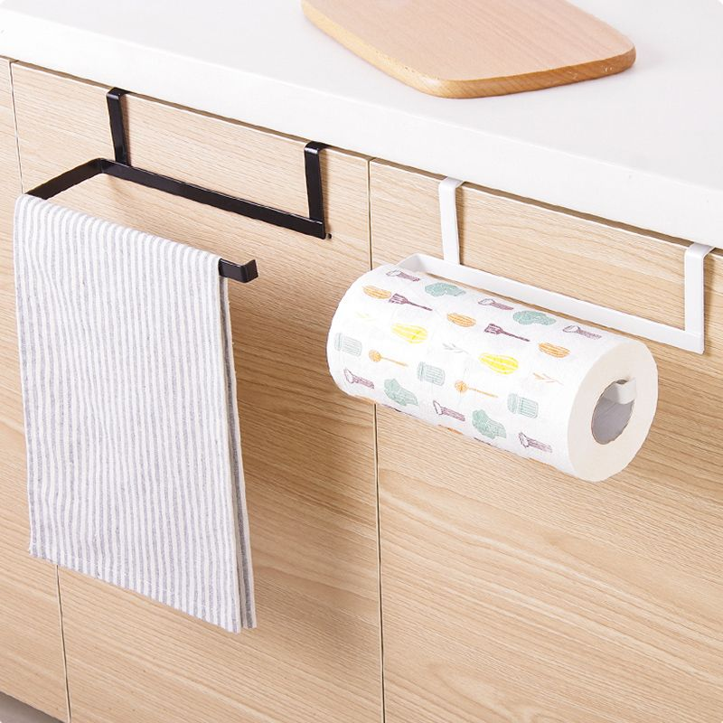Iron Kitchen Tissue Holder Hanging Bathroom Toilet Roll Paper Holder Towel Rack Kitchen Cabinet Door Hook Holder Organizadores Titulares Herreria