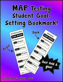 Free Map Test Goal Setting Bookmarks Md Downloadable Teaching
