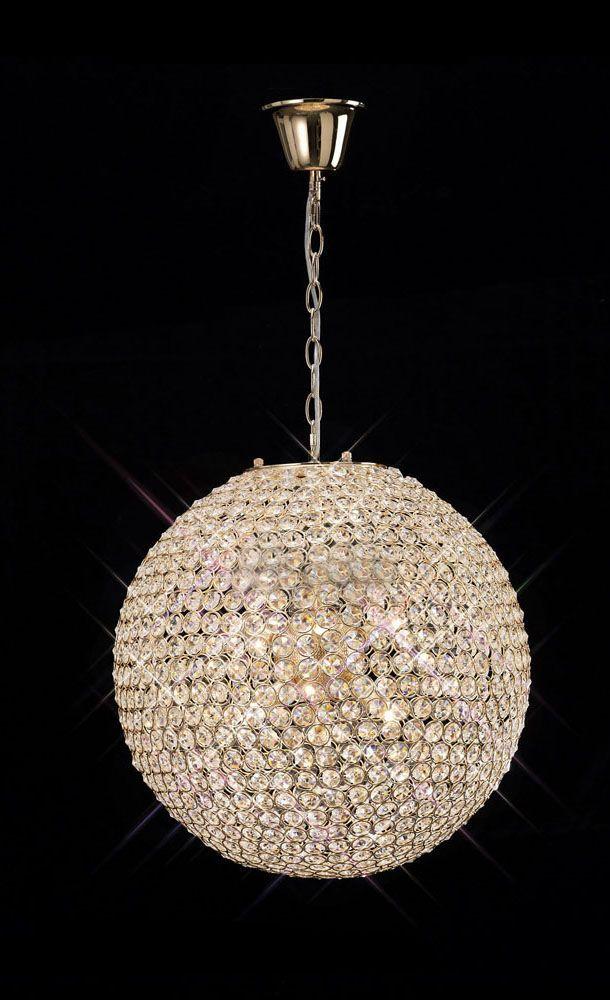 Golden Globe Crystal Ball Chandelier 2 Sizes