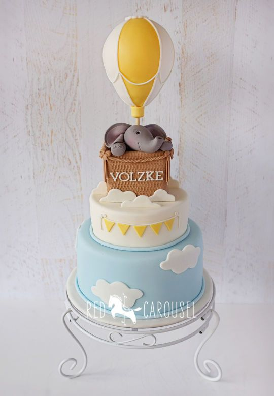 Hot Air Balloon - Elephant Cake for baby shower  Wynona, Red Carousel http://www.redcarousel.com