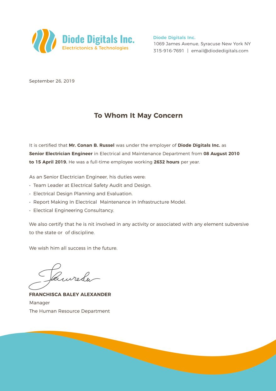 Free Electrician Experience Certificate Template Certificate Templates Work Reference Letter Certificate Format
