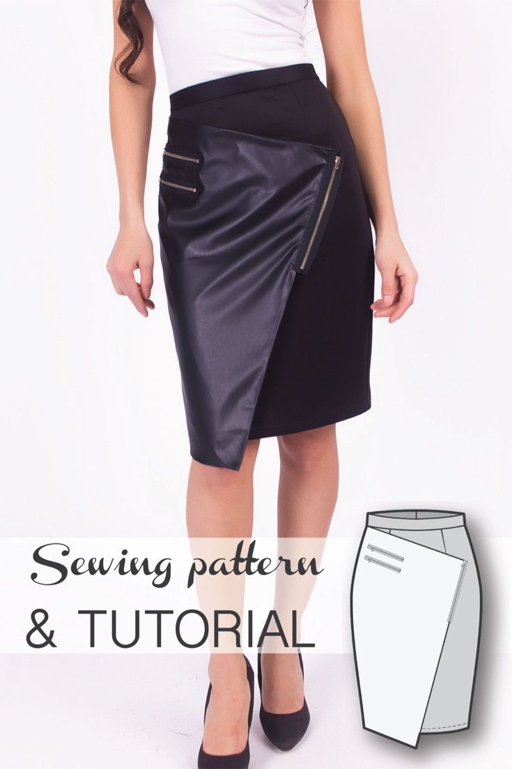 wrap asymmetric pencil skirt sewing pattern and sewing