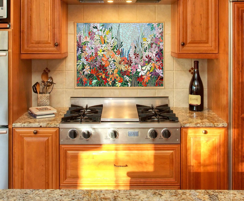 Custom Kitchen Mosaic Backsplash Art Hand Cut Stained Glass