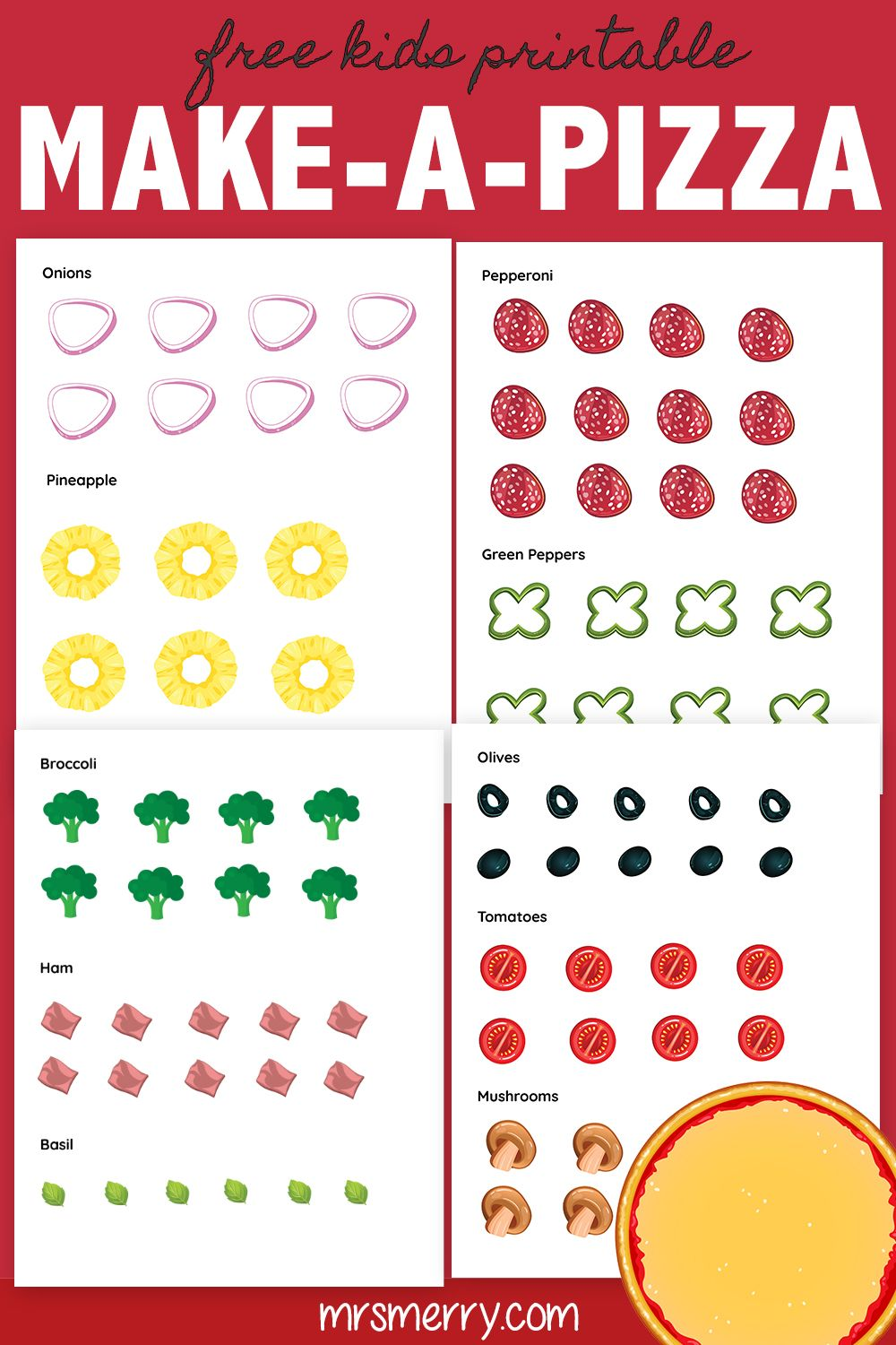 Free Kids Printable Activities Build A Pizza Rainy Day Activity Mrs Merr Printable Activities For Kids Diy Crafts For Kids Easy Free Activities For Kids [ 1500 x 1000 Pixel ]