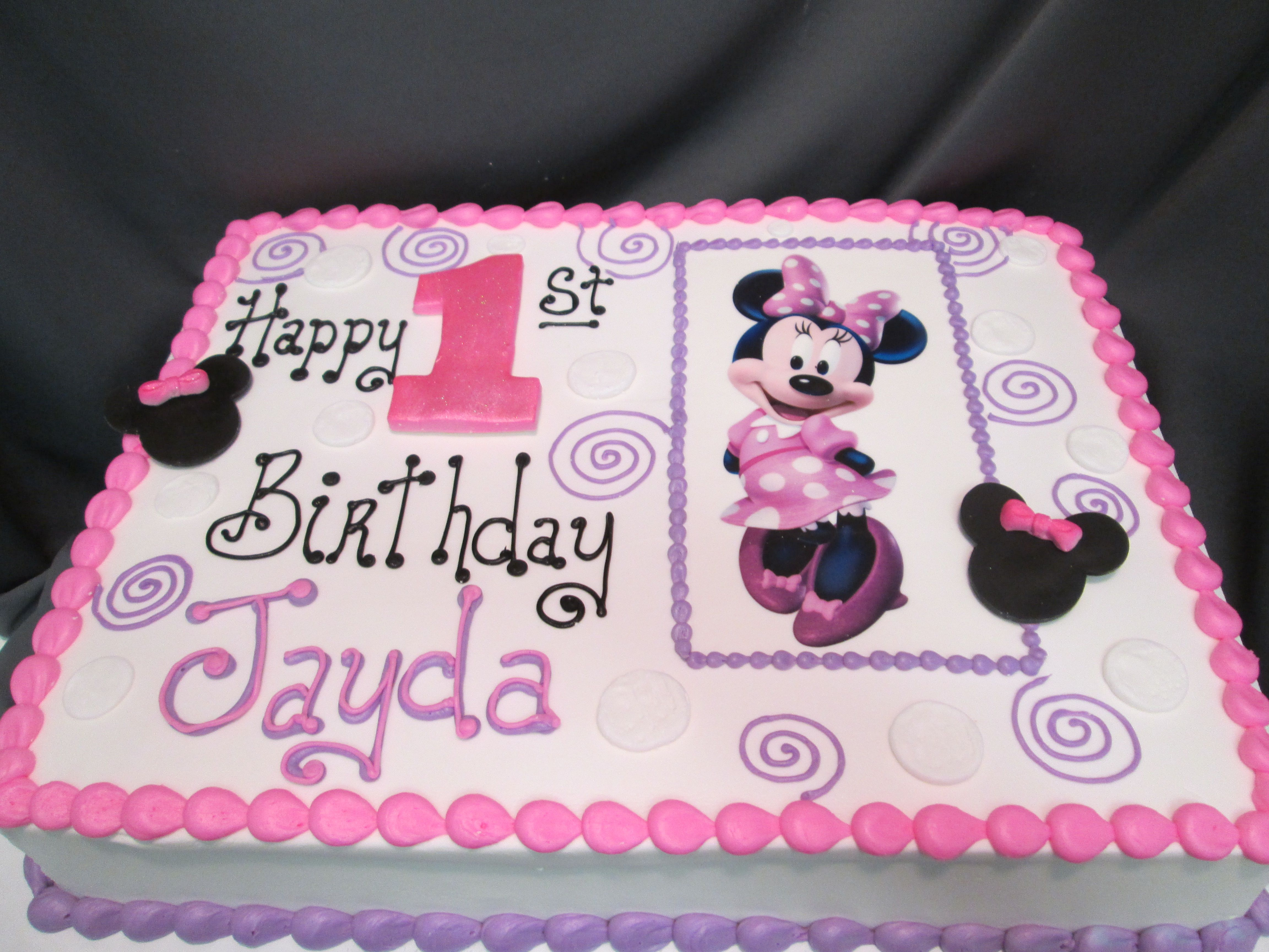 Minnie Mouse Pink Purple Birthday Cake Sugarshackscia Minnie