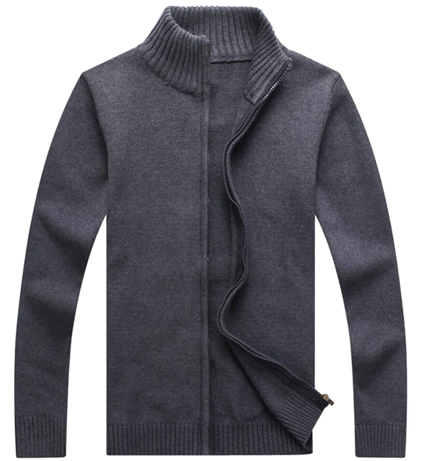 XQS Men's Retro Solid Full Zip Cardigan Sweater Jacket-in Sweaters ...