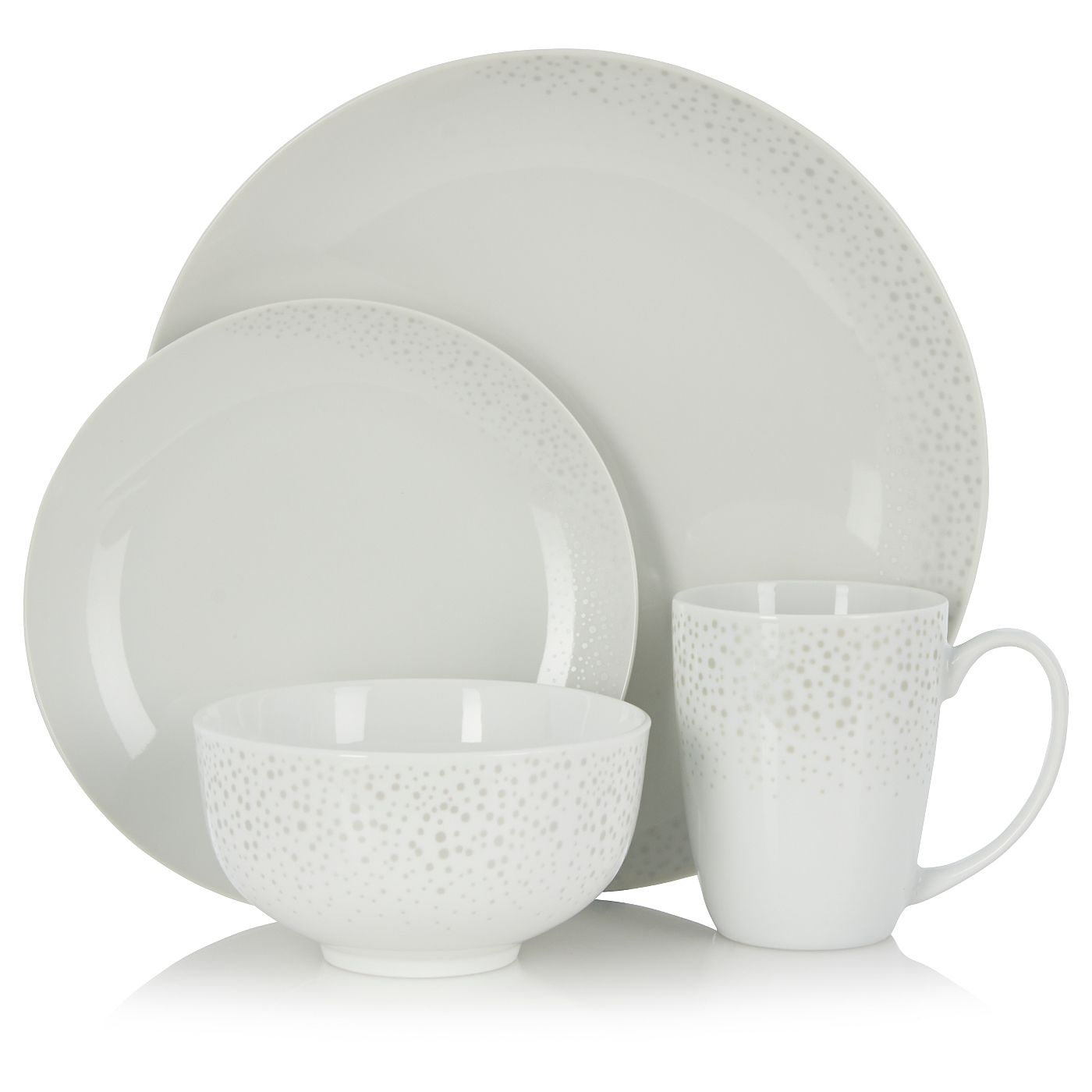 George Home 16 Piece Silver Scatter Dinner Set Tableware Asda Direct George Home Dinner Sets Tableware