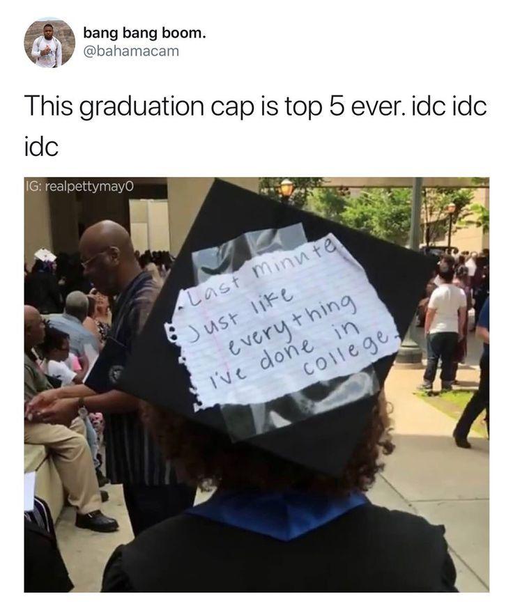 Funny graduation cap last minute procrastination - Graduation