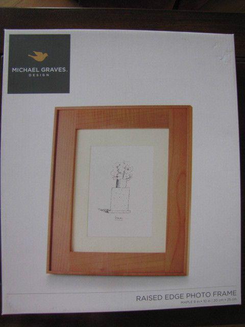 8x10 or 5x7 maple wood photo frame raised edge by michael graves ret 43 nib