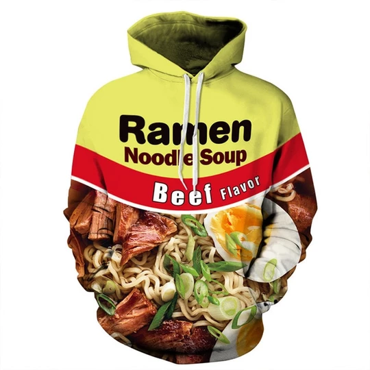 3D Nutella Ramen Noodle Soup Women Men Hoodies Funny Sweatshirts Pullover Jumper