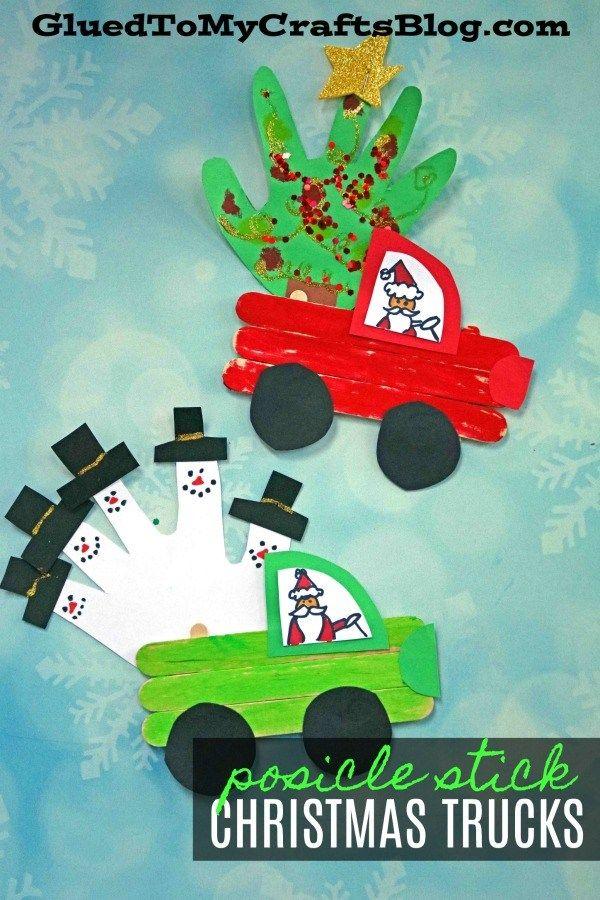 Popsicle Stick Christmas Trucks - Winter Kid Craft