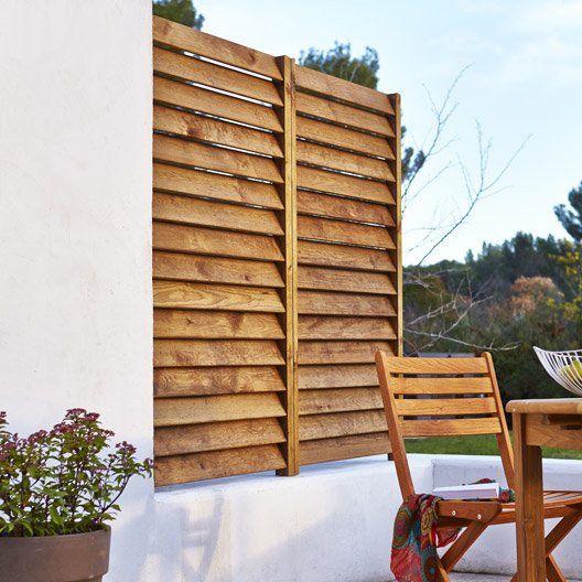 Kit Panneau Persienne En Bois Naturel L 80 X H 180 Cm X Ep 33 3 Mm Persienne Bois Persienne Idees De Patio