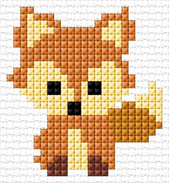 Fox counted embroidery design. 25 x 27 stitches 5 colors