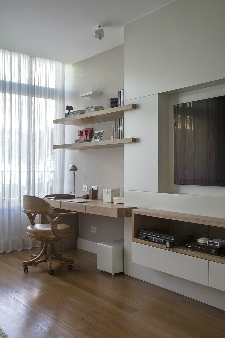 Wall Decor Ideas. Love, love this home office layout, Storage on the other side of room, and tv situated so I can look up and watch or set on the sofa or chair across from it.