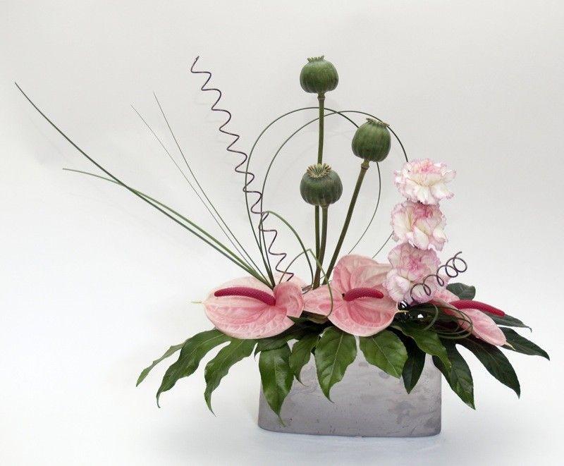 Contemporary 3 Tropical Flower Arrangements Ikebana Flower