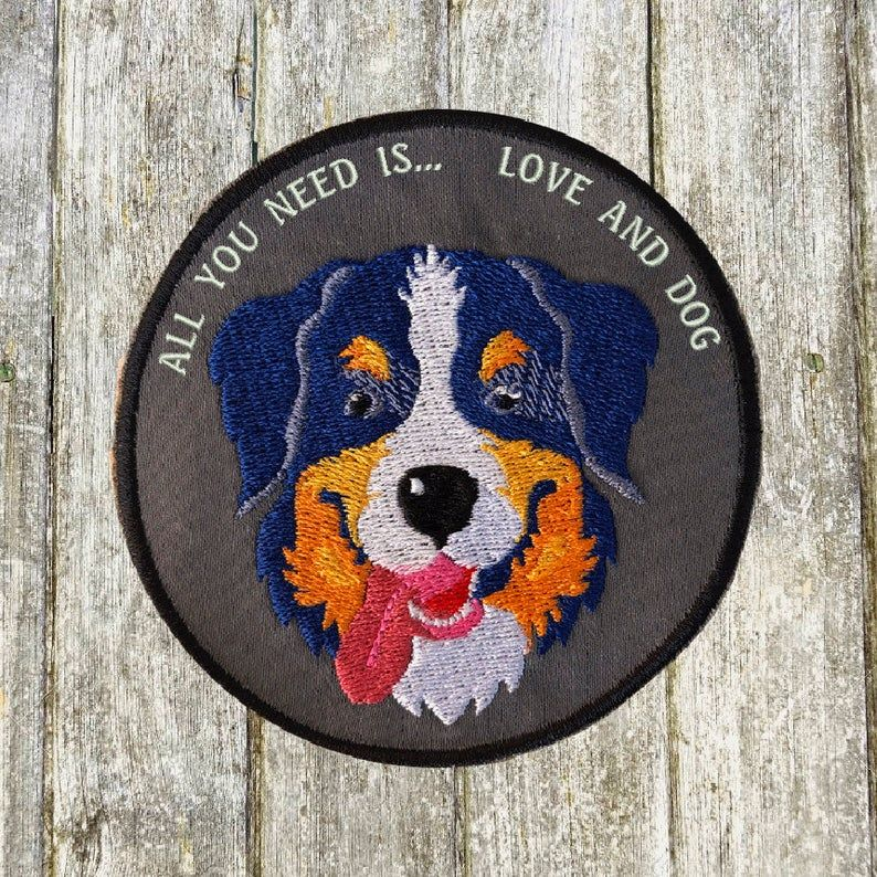 Bernese Mountain Dog Embroidery Patch Cute Bernese Dog Puppy Pet Embroidery In 2020 Bernese Mountain Dog Mountain Dogs Bernese Dog