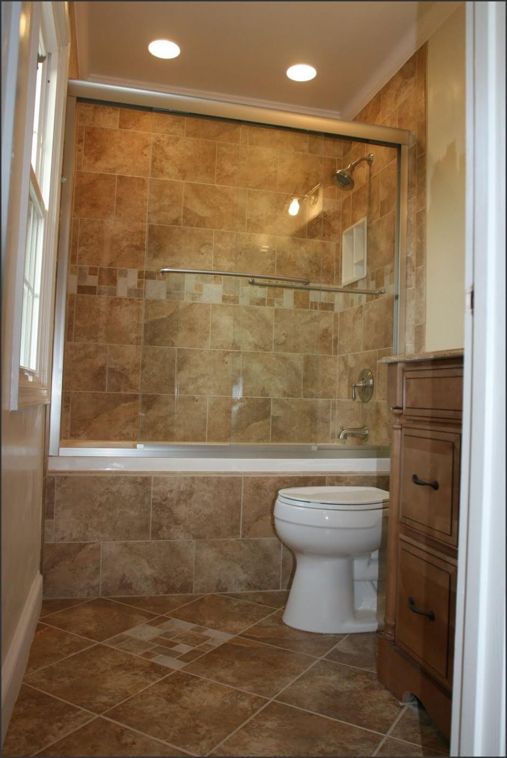Tiny Bathroom With Oak Vanity And Closed Bathroom Shower Ideas On Marble Flooring