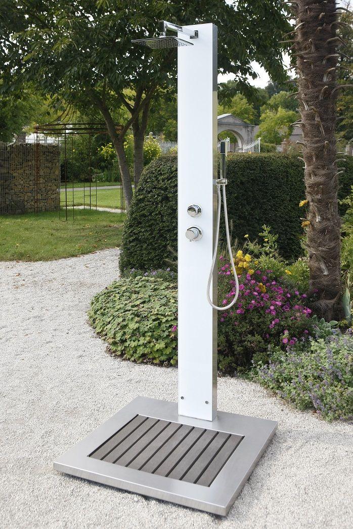 Gartendusche TOBAGO elegant, mit weißem Sicherheitsglas