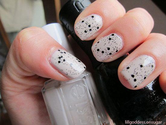 White With Black Glitter Nail Polish