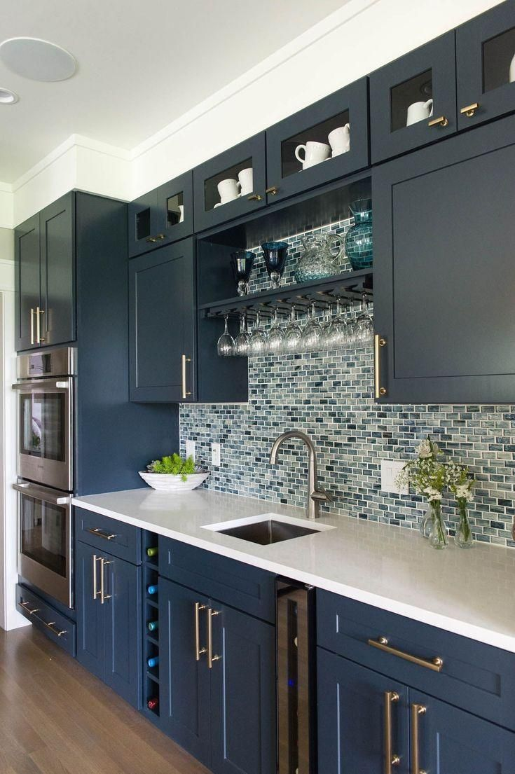 Charming Blue Apartment Design With Stunning Details #longnarrowkitchen