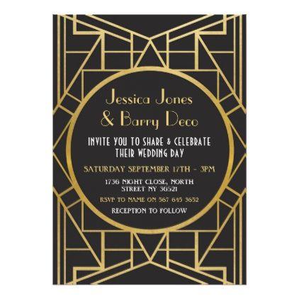 1920 S Art Deco Gatsby Great 20s Wedding Invite Invites And
