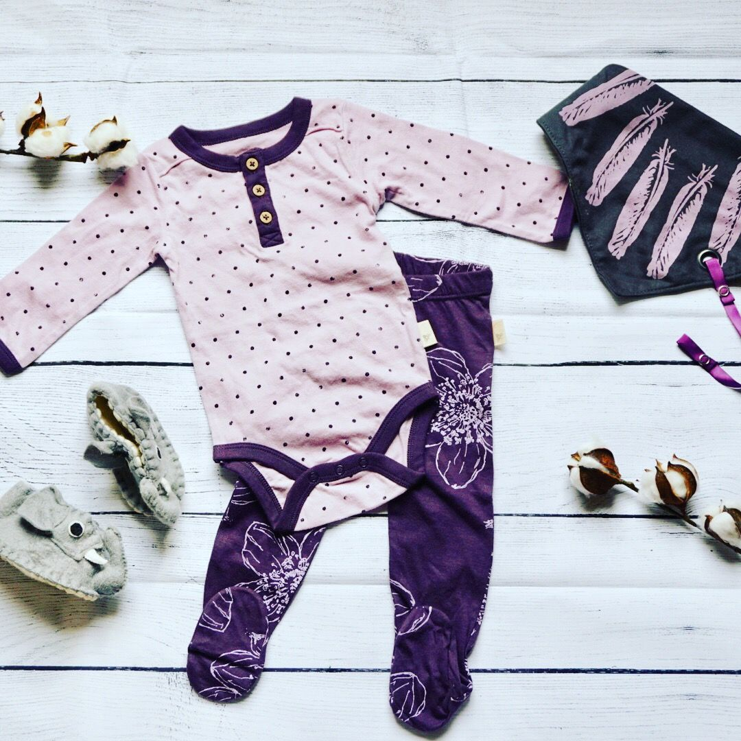 Baby Girl Outfit Baby Leggings Baby Pants Purple Polka Dots Baby Onesie Baby Bodysuit Feat Organic Cotton Baby Clothes Organic Kids Clothes Girl Outfits