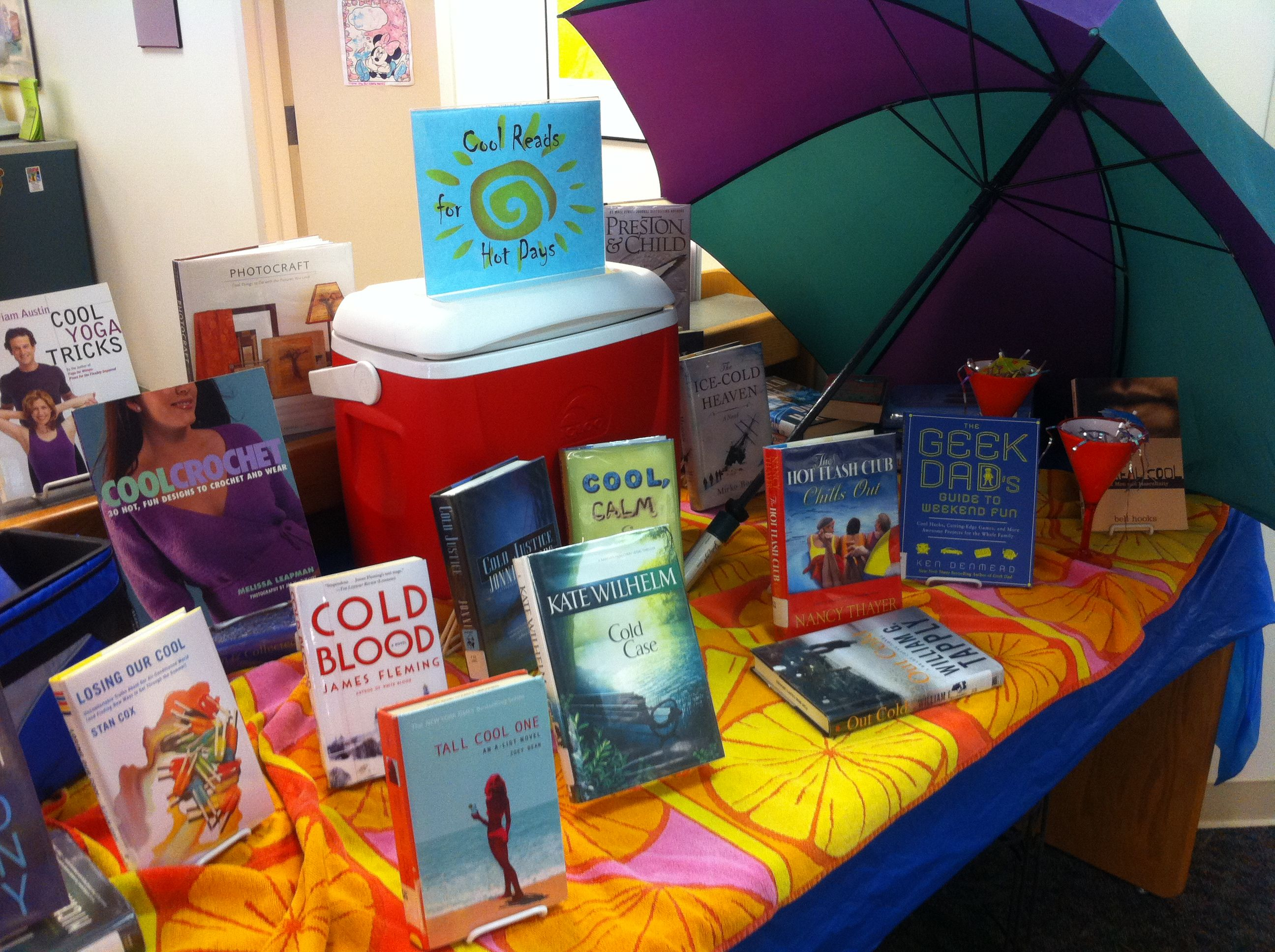 Cool reads for hot days display  | Library stuff | Autumn summer